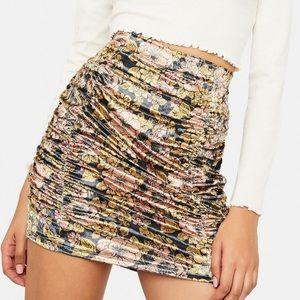 Free People Gigi Velvet Ruched Skirt